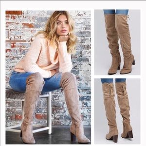 Size 10 Over The Knee Vegan Suede Boots